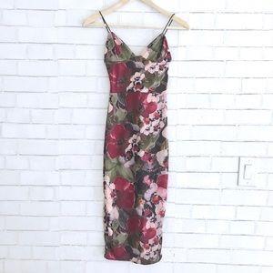 Floral Slinky Midi Dress - Bodycon Dress